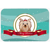 Yorkie Terrier Yorkishire Feliz Navidad Cocina O Baño Mat 2