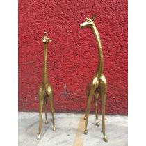 Esculturas De Jirafas En Latón (par)