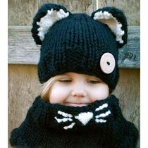 Gorro Niña Estambre, Crochet Gato Neg Importados Usa Colores