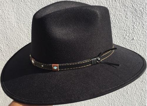9e0cd17ce0de3 Sombrero Casual Indiana Explorer Forrado Negro Y Cafe