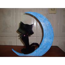 Gato Con Luna Decoración Hecha De Mdf