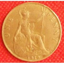 1 Penny 1919 Gran Bretaña Moneda Rey Jorge V Inglaterra Vbf