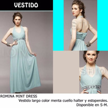 *fashionstore* Romina Blue Dress, Vestido Color Menta
