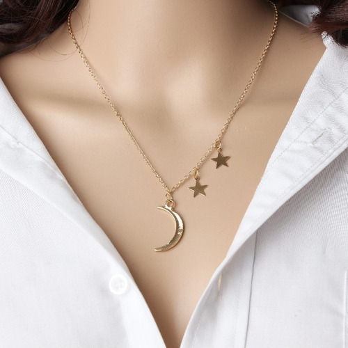 d953fc24d50f Collar Dije Moda Vintage Luna Y Estrella.