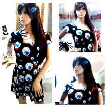 Vestido Calavera Catrina Esqueleto Gatos Halloween Ojos Moda