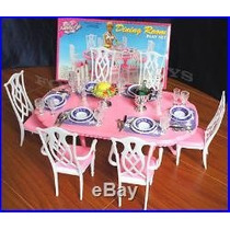 Mueble Para Casa De Muñeca Barbie Comedor Grande