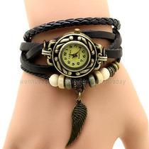 Reloj Hipster De Cuarzo Dama Pulso De Piel Color Negro Único