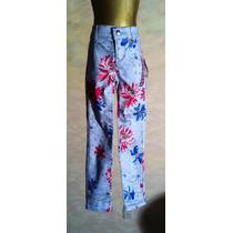 Pantalon De Niña Tipo Mezclilla Plata Con Flores De Colores