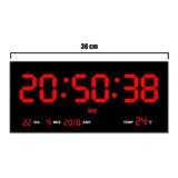 Reloj Digital De Pared Led Numeros Rojos Termómetro 36 Cm