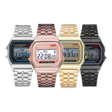 Reloj Estilo Retro A168 Unisex Digital Correa Metal