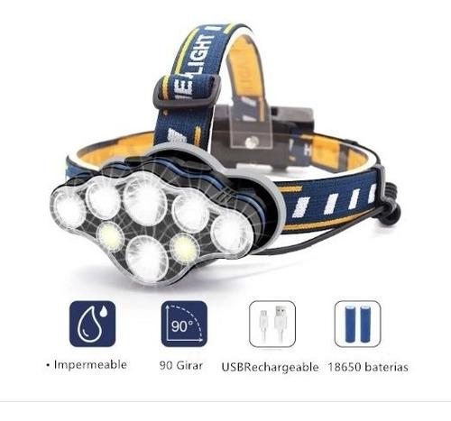 Lámpara D/cabeza Led Linterna Minera Recargable Usb 8 Modos