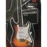 Paquete De Guitarra Electrica Stratocaster Amplificador 15w