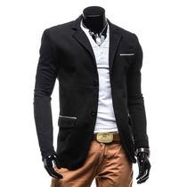 Saco Blazer Hombre Casual Moda Slim Fit Juvenil Coderas