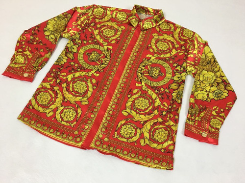 Camisa De Seda Gianni Versace Barroco Iconico Vintage af4d2e85576