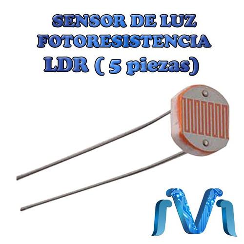 Sensor de luz ldr fotoresistencia luminosidad 5 piezas - Sensor de luz precio ...