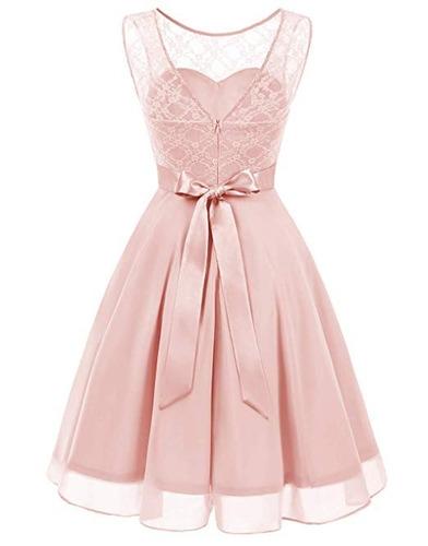 Vestido Damas Honor Boda Xv Encaje Floral Rosa Xl En Venta