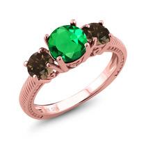 Anillo Plateado Plata Verde Esmeralda Nano De Oro Rosa