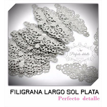 25 Filigranas Larga Sol Plata Para Decorar Invitaciones