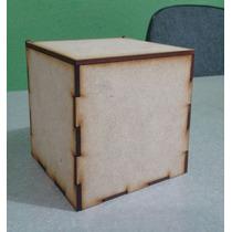 Caja De Mdf 10 X 10 X 10 Con Tapa. Recuerdito Madera Country