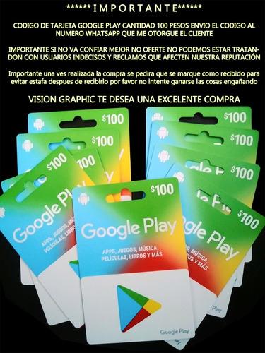 Terjeta Google Play De 100 Pesos