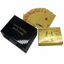 Baraja Poker Cartas Chapa Oro 24k Caja Madera 100 Dolares
