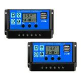 2 Controladores De Carga Solar 20a 12v/24v Lcd Usb + Envío