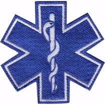 Estrella De La Vida Azul Parche Bordado Rescate Paramedico