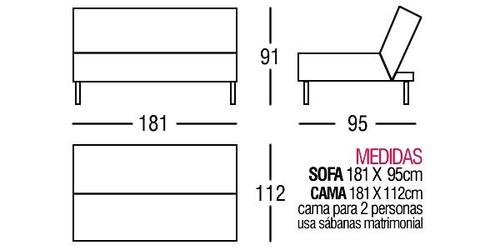 Sofa cama futon sofacama sillon sala mueble envio barato for Futon 2 plazas precio