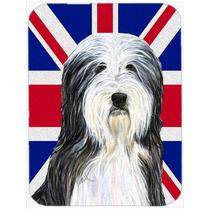 Collie Barbudo Con La Bandera De La Unión Jack Británica I