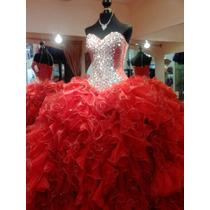 Vestido De Xv Años Color Rojo Desmontable Con Piedreria