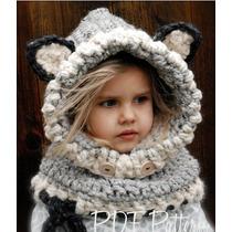 Gorro Niña Estambre, Crochet Orejas Importados Usa