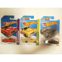 Hot Wheels Set 3 Camionetas 67 Chevy C10 Rojo Negro Amarillo