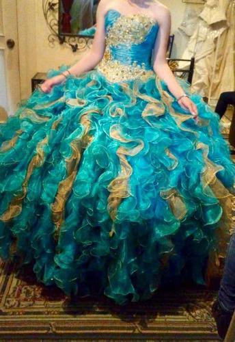 Vestido De Xv Años Color Dorado Y Verde Jade En Venta En
