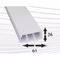 Canaleta Pvc 3 Vías 10 A 11 Cables 26mm X 61mm X 2m Autoext