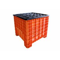 Caja De Plastico Contenedor Mexico Calado C Tapa80 X 80 X 80