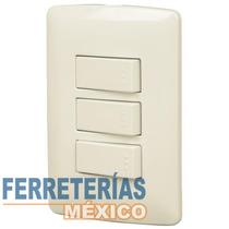 Placa Con 3 Interruptores, 2 Sencillos 1 De 3 Voltech 48665