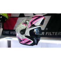 Casco S Abatible Mujer Rosa Motocicleta Certificado Dot