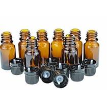 10 Ml Botellas De Vidrio Ámbar W / Euro Cuentagotas. Cap Neg