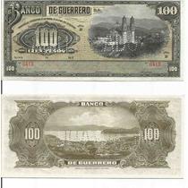 Bk-gue-18 Raro Billete Del Banco De Guerrero De 100 Pesos