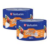 100 Dvd-r Imprimible Full Face Marca Verbatim 100 Pzs