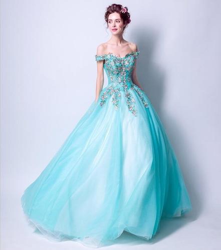 Vestido Xv Años Aqua Bordado Flores Envió Gratis Z 8850 En
