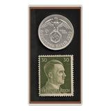Grr-moneda Alemania Nazi 2 Marcos Plata 1939 + Timbre Hitler
