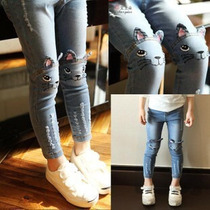 Pantalon Jeans Leggins De Mezclilla De Niña De Gato