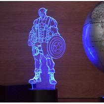 Lámpara Led Rgb 3d Acrílico Marvel Capitán América Video