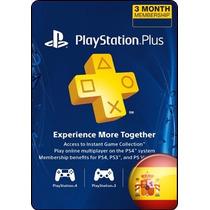 Tarjeta Gift Card Playstation Plus España 3 Meses Ps3 Ps4