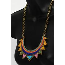 Collar Moda Medio Sol Con Chaquira Multicolor Cc208