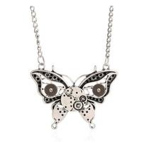 Collar Vintage Regalo Amor Mujer Novia Mariposa Con Engranes
