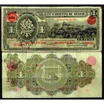 Bk-pue-2 Billete Del Banco Oriental De Mexico De 1 Peso