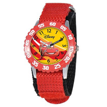 Disney Kid Time Acero Inoxidable Coches Maestro Reloj Rojo