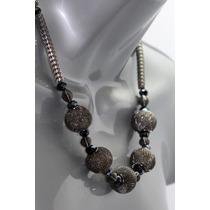 Collar Moda Negro Malla Metal Y Esferas Gris Oxford